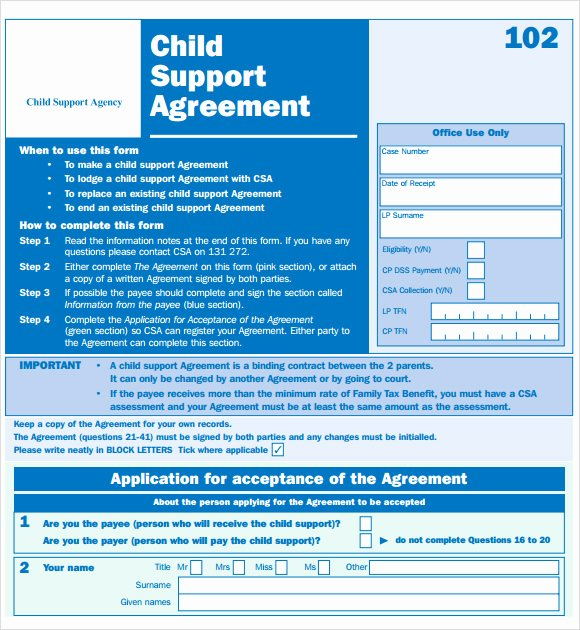 Private Child Support Agreement Template Awesome Sample Child Support Agreement 7 Example format