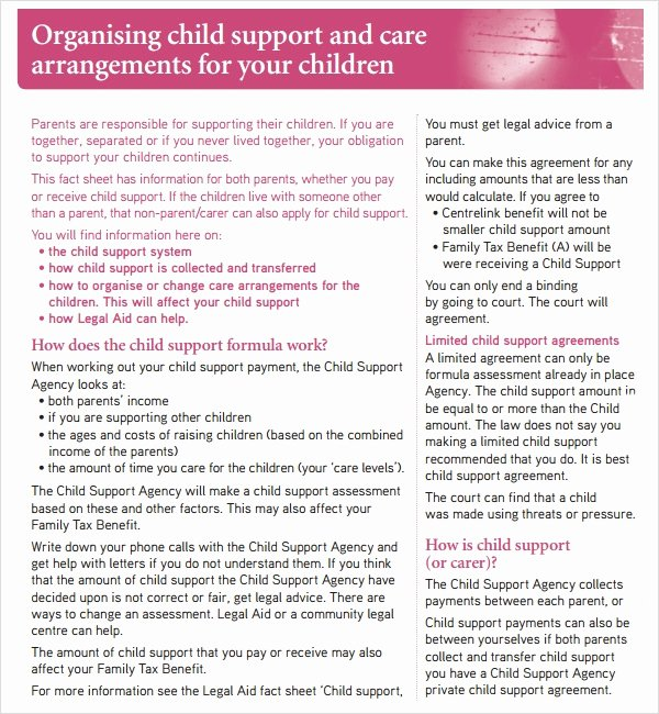 Private Child Support Agreement Template Elegant Child Support Agreement 5 Free Pdf Download