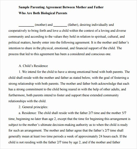 Private Child Support Agreement Template Elegant Child Support Agreement Template 7 Free Samples