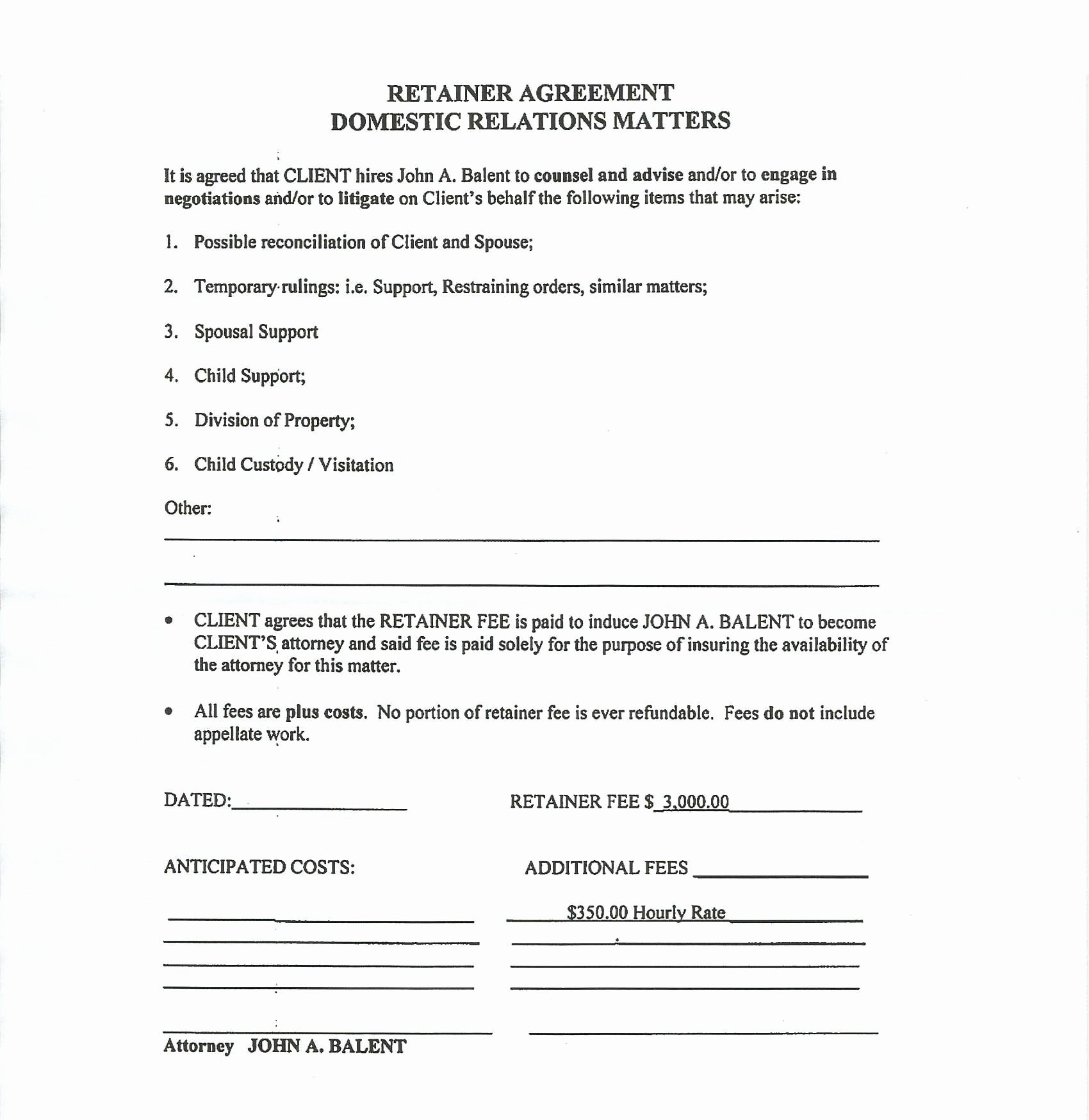 Private Child Support Agreement Template Elegant Retainer Agreement Sample