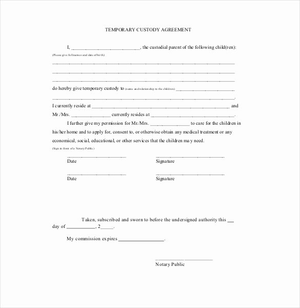 Private Child Support Agreement Template Fresh Custody Agreement Template – 10 Free Word Pdf Document