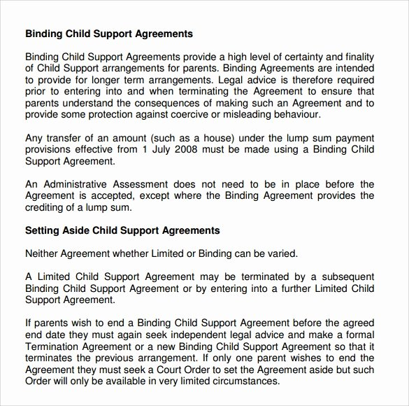 Private Child Support Agreement Template Inspirational Child Support Agreement 9 Download Free Documents In Pdf