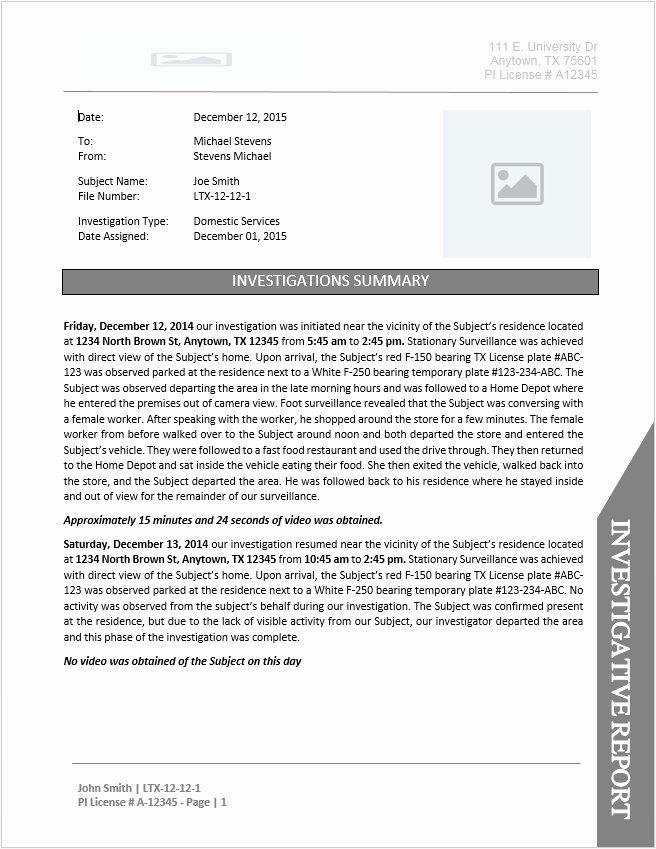 Private Investigator Report Templates Elegant Private Investigator Report Template Document Downloads