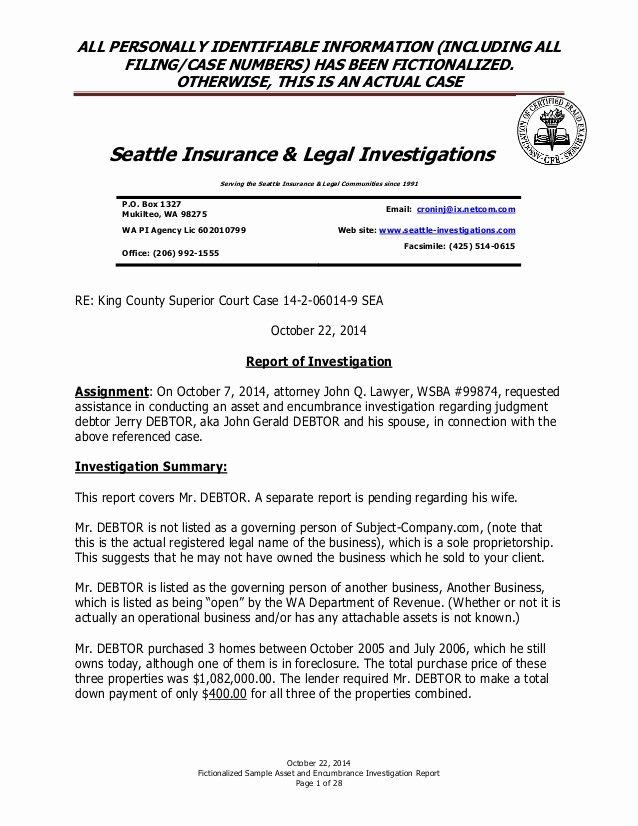 Private Investigator Report Templates Elegant Sample Fictionalized asset and Encumbrance Investigation