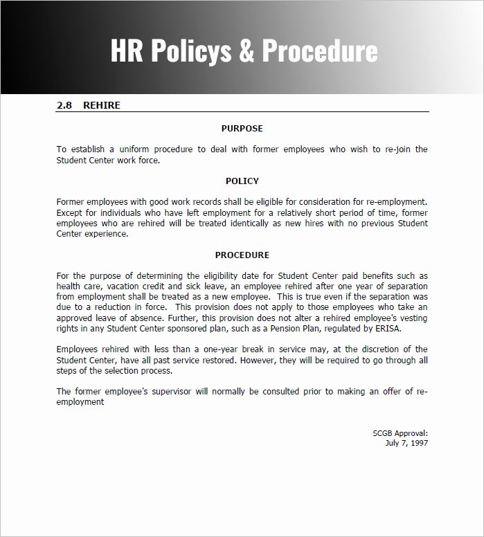 Procedure Manual Template Word Fresh Policies and Procedures Template