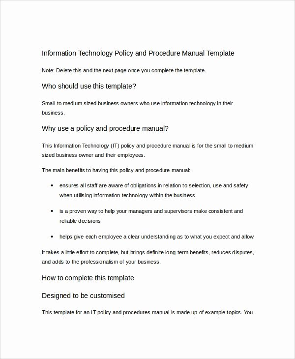 Procedure Manual Template Word Inspirational Word Manual Template 5 Free Word Documents Download