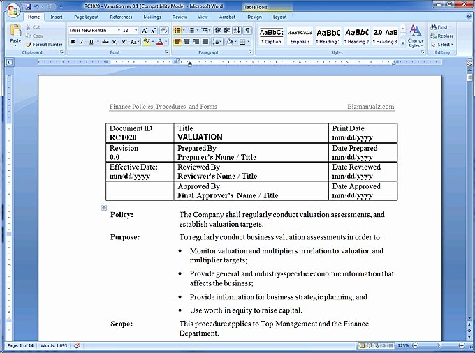 Procedure Manual Template Word Luxury Policy and Procedure Template
