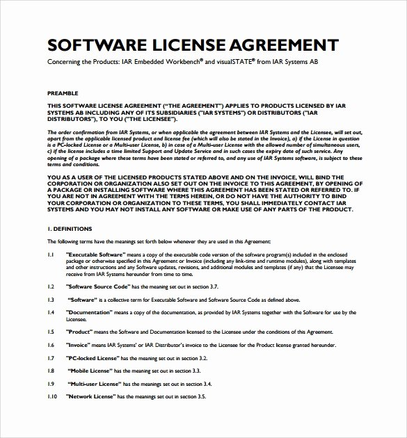 Product Licensing Agreement Template Beautiful 14 software License Agreement Samples Word Pdf