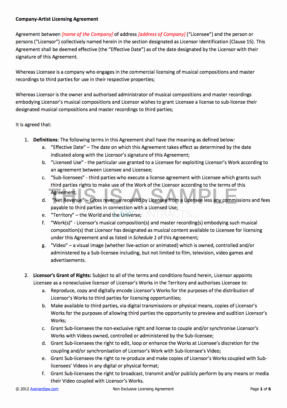 Product Licensing Agreement Template Beautiful Non Exclusive Licensing Contract Template