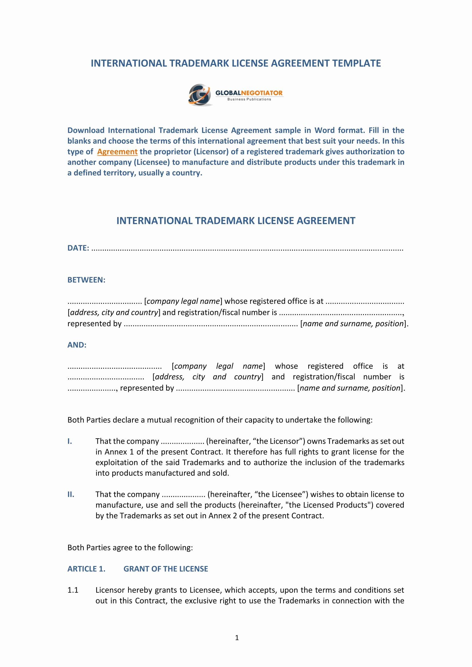 Product Licensing Agreement Template Elegant 13 Trademark License Agreement forms Pdf Doc