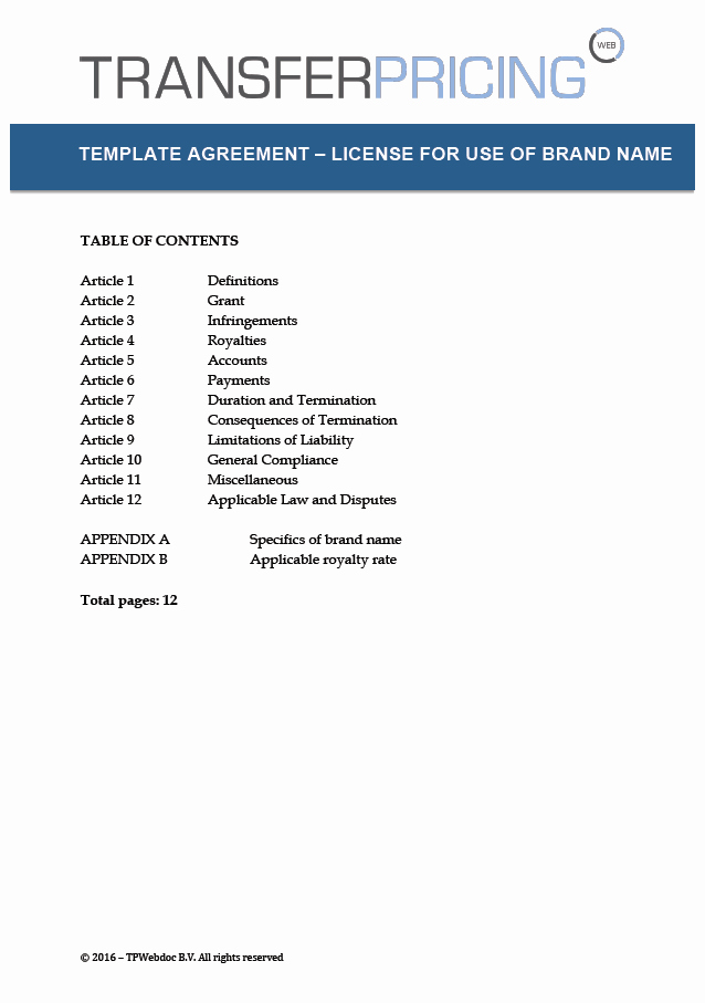 Product Licensing Agreement Template Fresh License Agreement Template for Use Of Brand Name