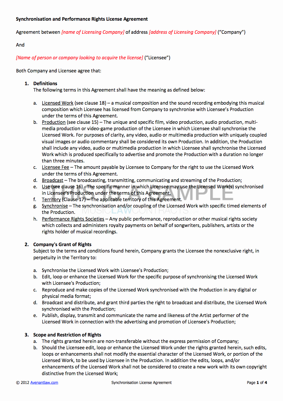 Product Licensing Agreement Template Fresh Synchronisation License Contract Template