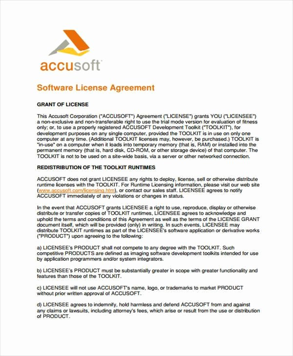 Product Licensing Agreement Template New 9 License Agreement form Samples Free Sample Example