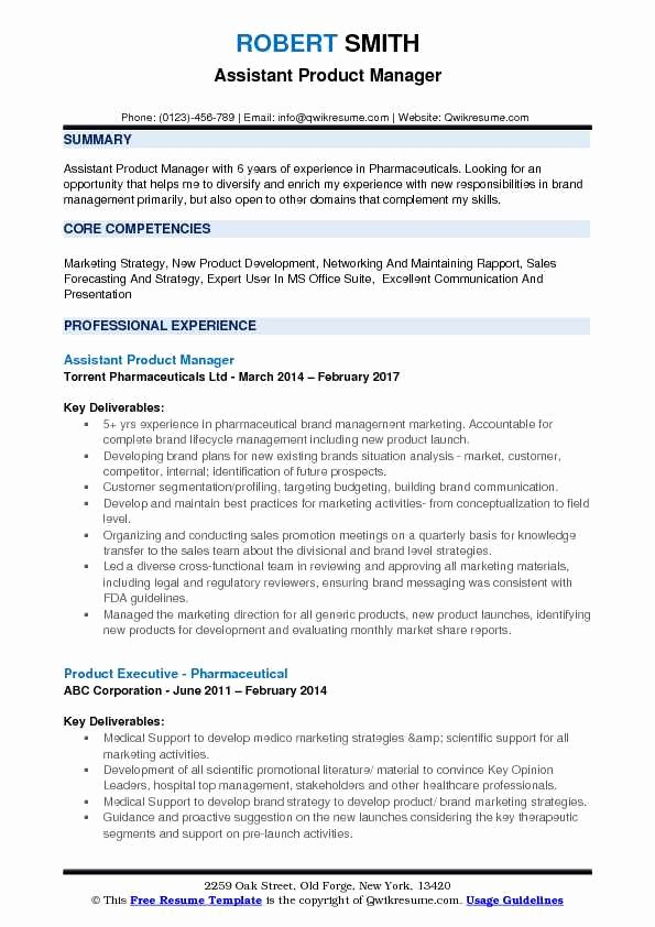 Product Manager Resume Template Elegant assistant Product Manager Resume Samples