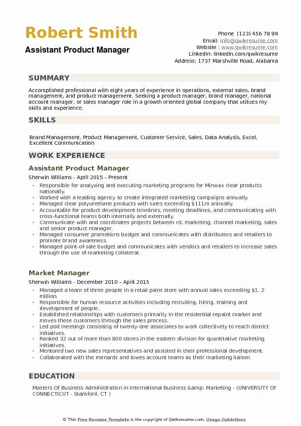 Product Manager Resume Template Fresh assistant Product Manager Resume Samples