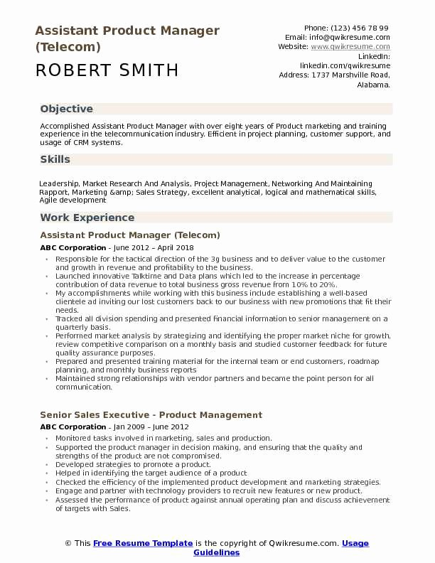 Product Manager Resume Template Inspirational assistant Product Manager Resume Samples