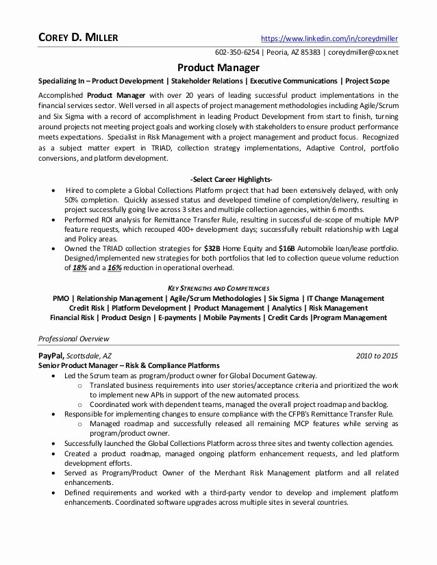 Product Manager Resume Template Inspirational Senior Product Manager In Phoenix Az Resume Corey Miller