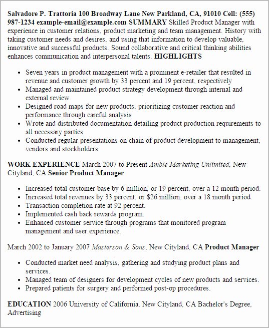 Product Manager Resume Template Lovely Professional Product Manager Templates to Showcase Your
