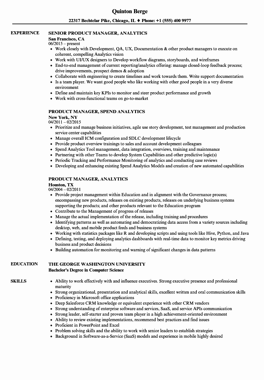 Product Manager Resume Template Luxury Product Manager Analytics Resume Samples
