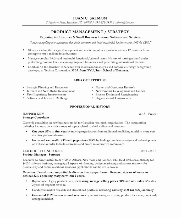 Product Manager Resume Template Luxury Product Manager Resume