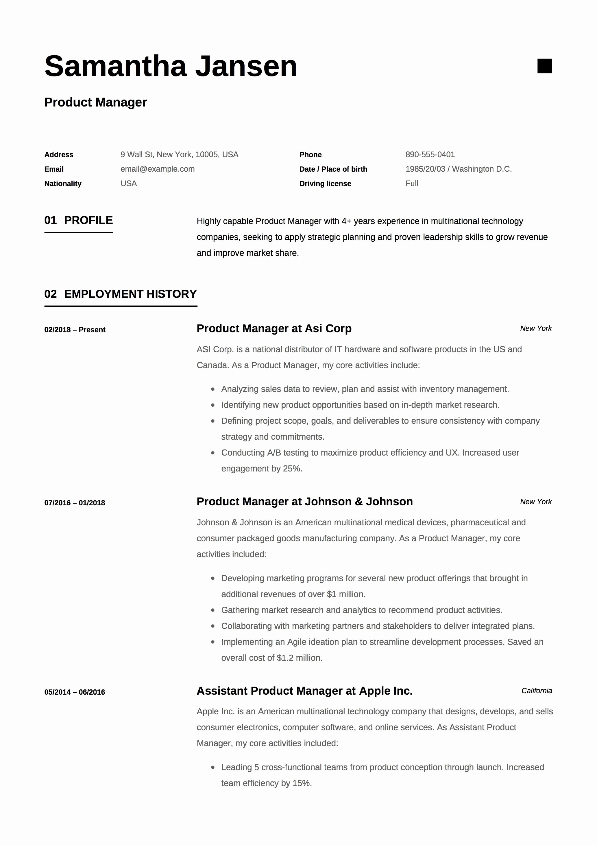 Product Manager Resume Template Luxury Product Manager Resume Sample Template Example Cv