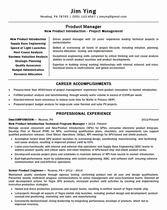 Product Manager Resume Template Unique New Product Manager Resume Example Introduction
