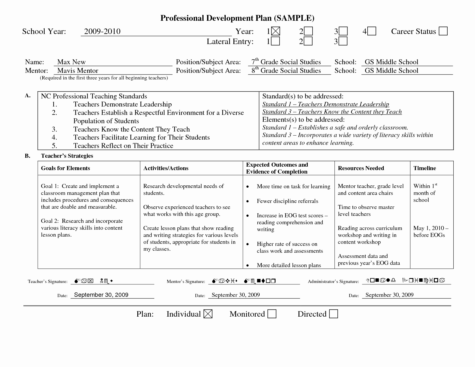 Professional Growth Plan Templates Awesome Professional Learning Plan Examples Google Search