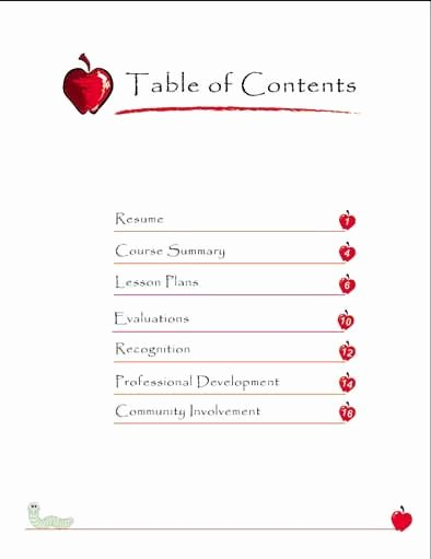 Professional Portfolio Cover Page Template Lovely Teaching Portfolio Table Of Contents