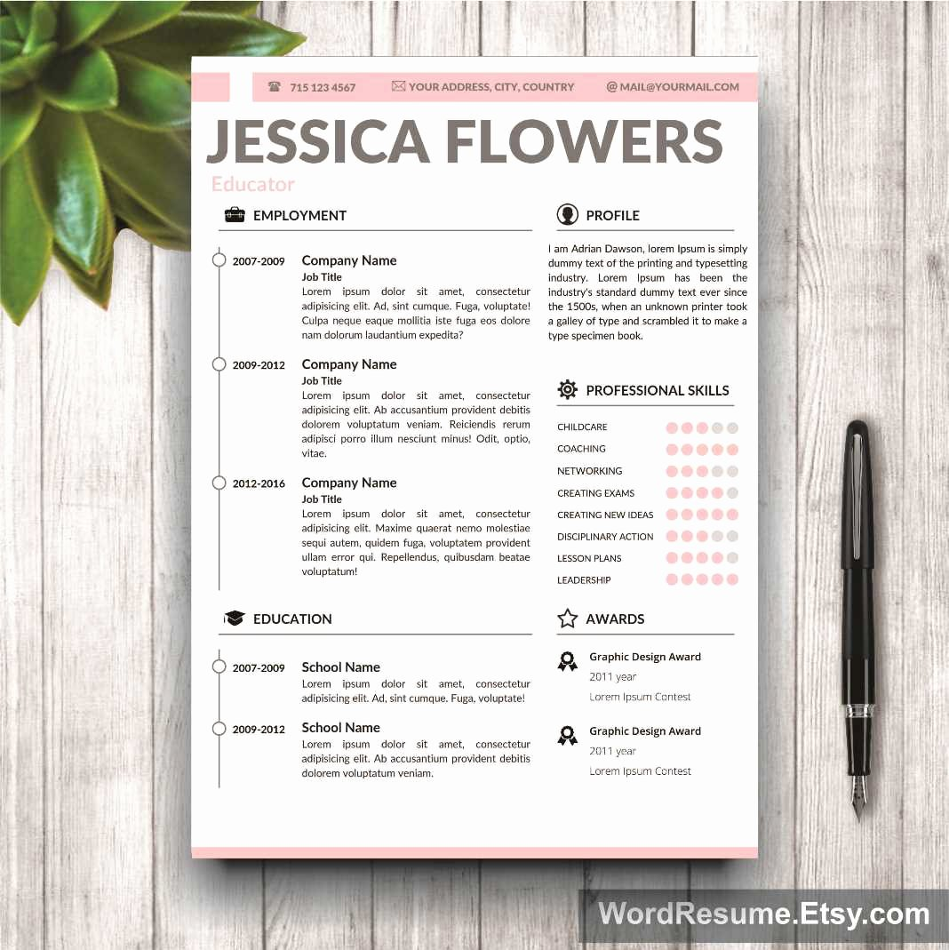 "Professional Portfolio Cover Page Template Unique Resume Template for Ms Word ""jessica Flowers"" Creative"