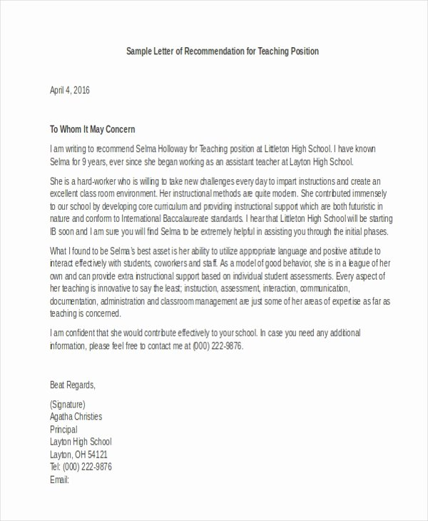 Professional Reference Letter Template Awesome Letter Of Re Mendation Sample 10 Free Documents In