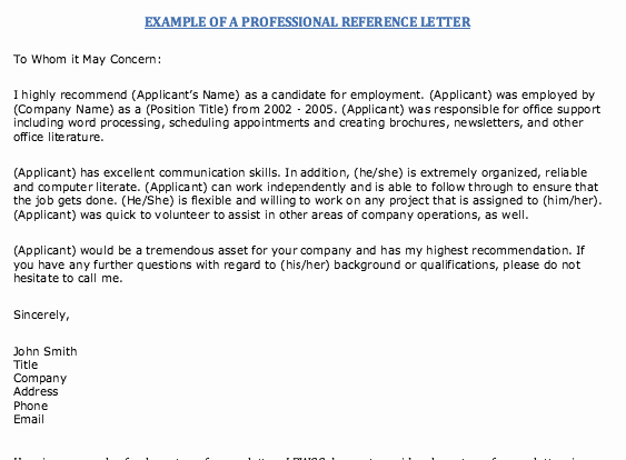 Professional Reference Letter Template Elegant Example Professional Reference Letter