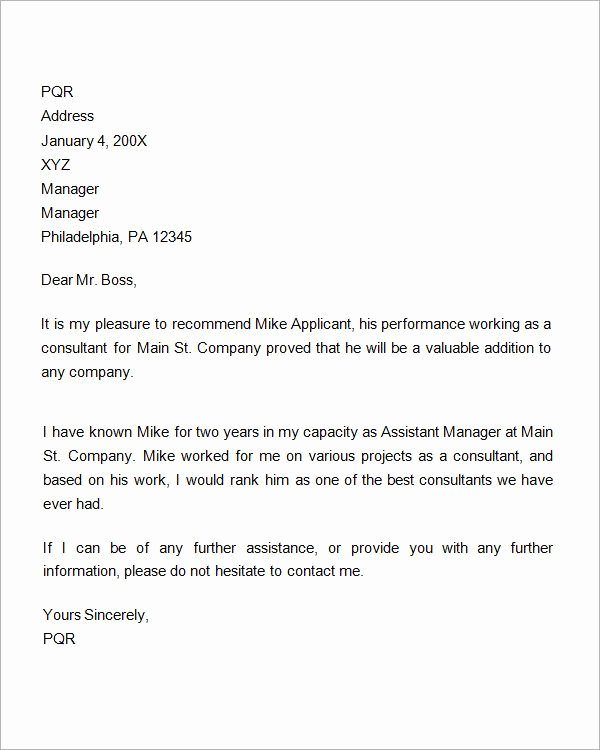 Professional Reference Letter Template Word Best Of 7 Re Mendation Letters for Employment Download Free