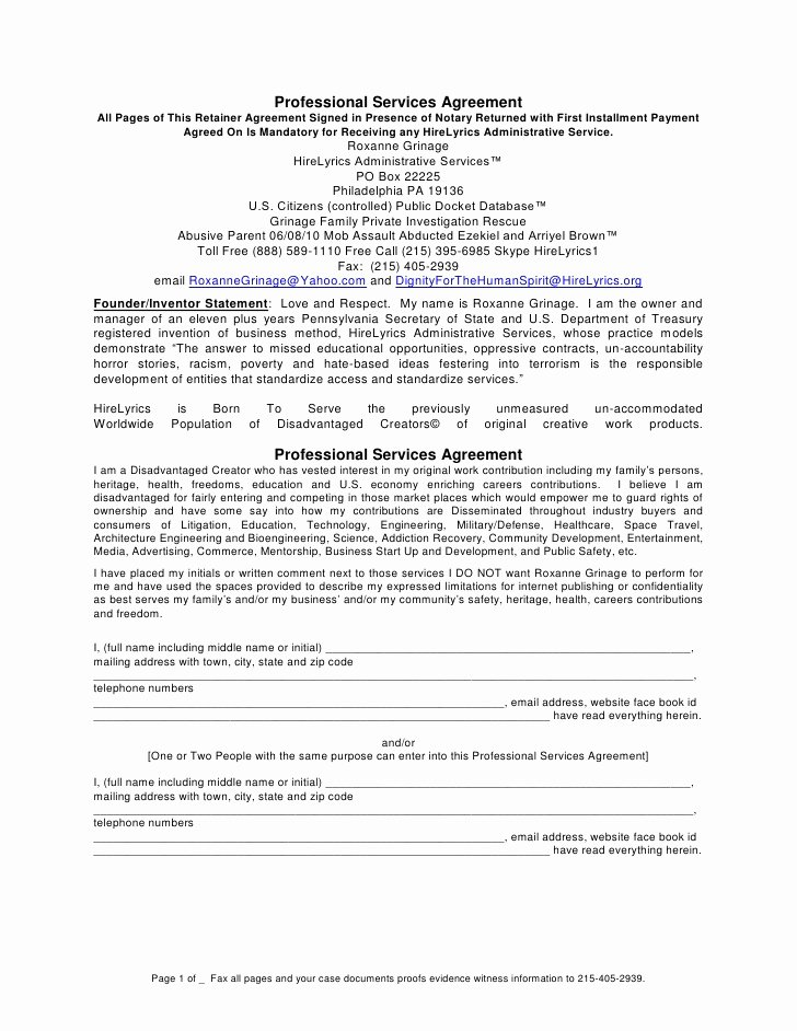 Professional Services Agreement Template Awesome Professional Services Agreement Mandatory Signed at Notary