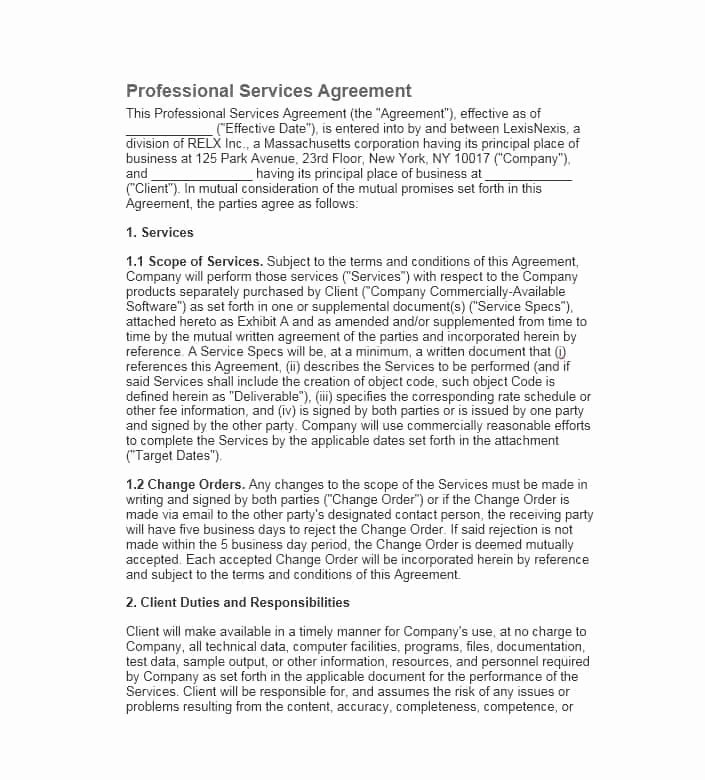 Professional Services Agreement Template Beautiful 50 Professional Service Agreement Templates & Contracts