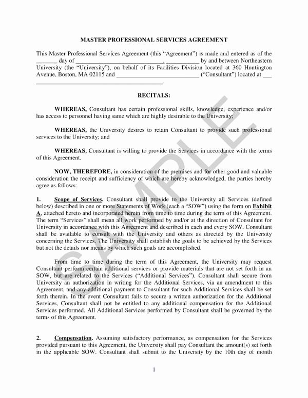 Professional Services Agreement Template Best Of Free 10 Master Professional Services Agreement