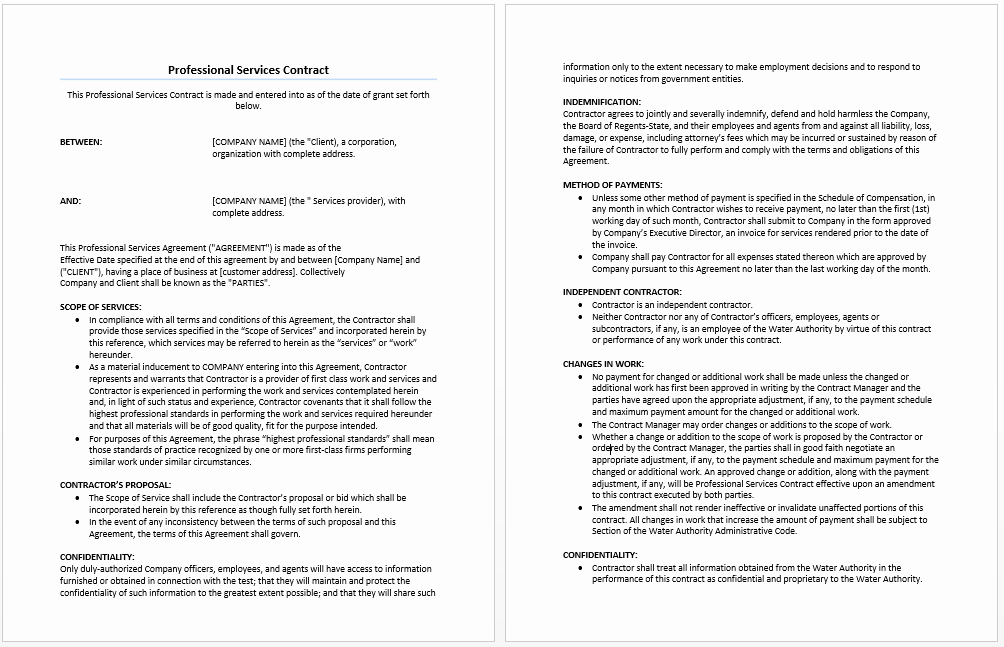 Professional Services Agreement Template Lovely Professional Services Agreement Template Microsoft Word