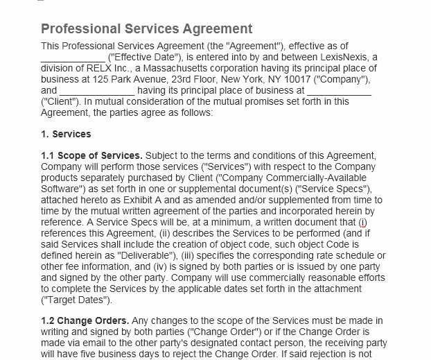 Professional Services Agreement Template Lovely Professional Services Agreement Templates 24 Free