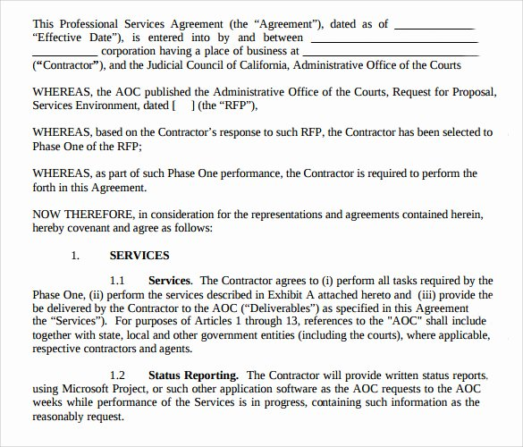 Professional Services Agreement Template New Sample Professional Services Agreement 12 Free In Pdf Word