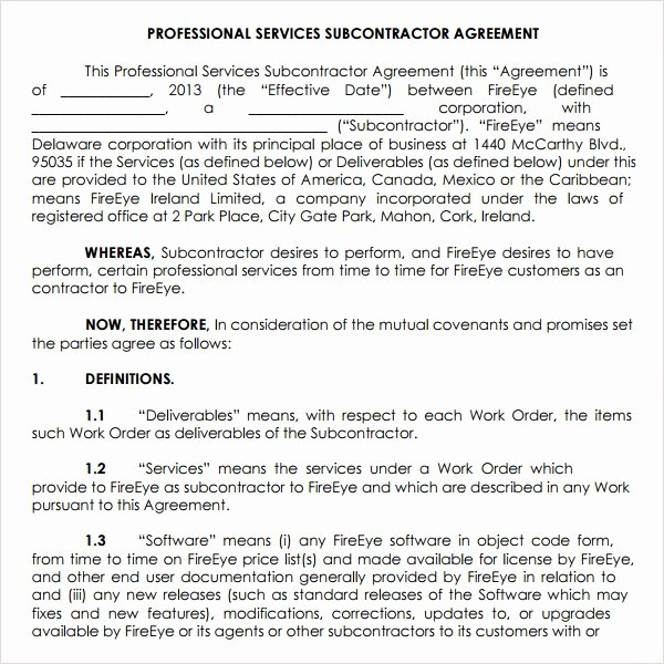 Professional Services Agreement Template Unique Subcontractor Agreement 13 Free Pdf Doc Download