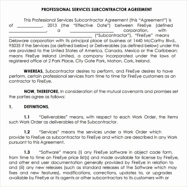 Professional Services Agreement Template Unique Subcontractor Agreement Template