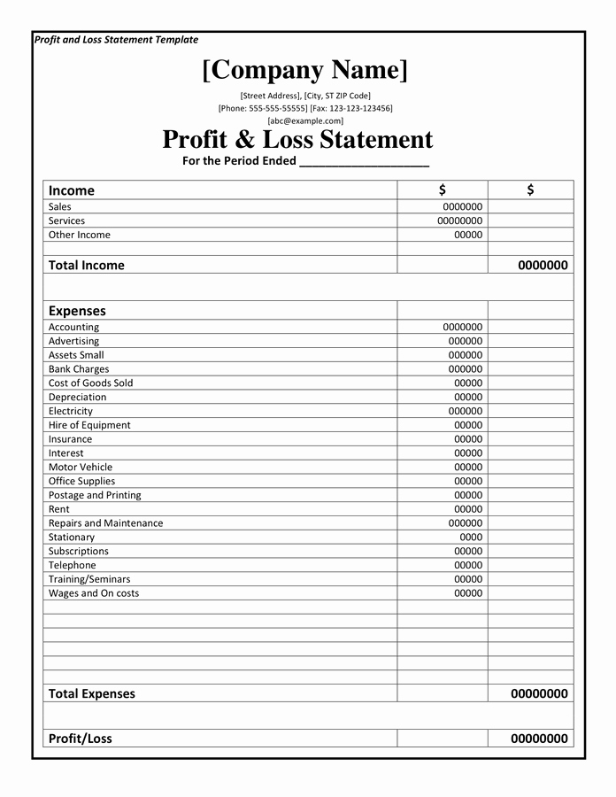 Profit and Loss Template Free New Profit and Loss Statement Template Doc Pdf Page 1 Of 1