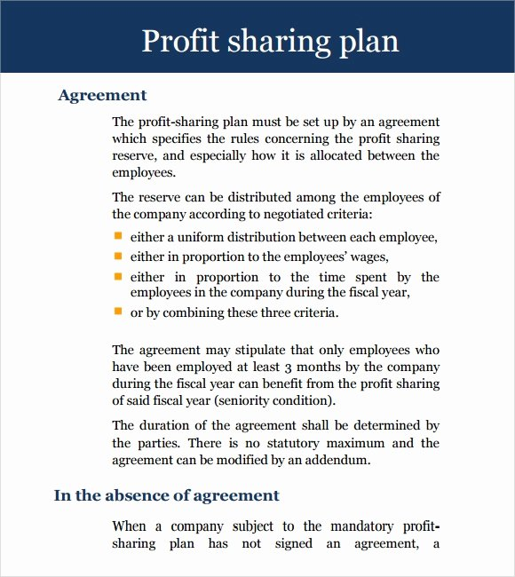 Profit Sharing Plan Template Awesome Sample Profit Sharing Agreement 12 Examples format