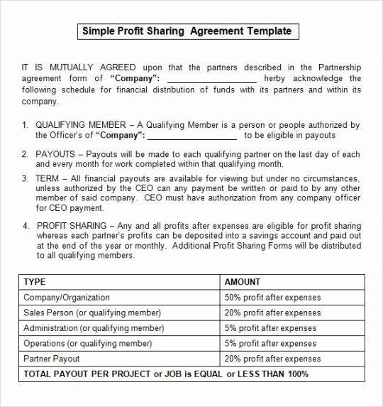 Profit Sharing Plan Template Elegant Partnership Profit Sharing Agreement Template