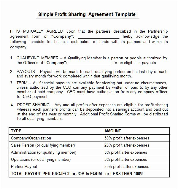 Profit Sharing Plan Template New Sample Profit Sharing Agreement 10 Free Documents In