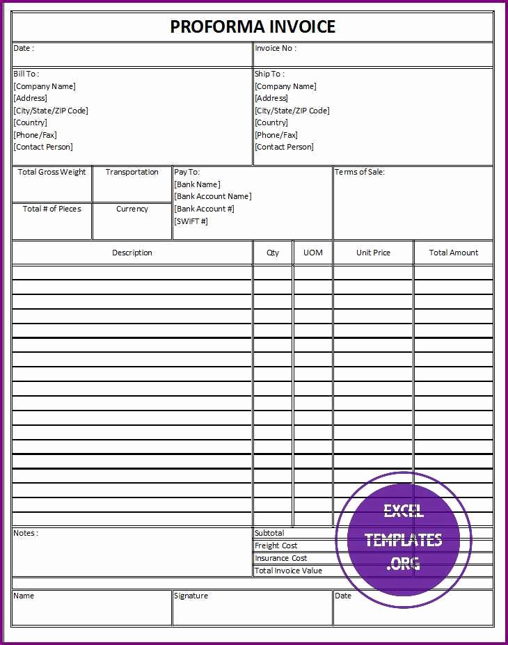 Proforma Invoice Template Excel Awesome Proforma Invoice Template Excel Templates