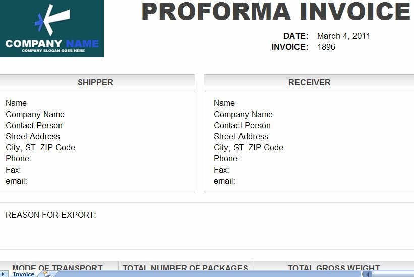 Proforma Invoice Template Excel Awesome to Proforma Invoice Template In Excel format You