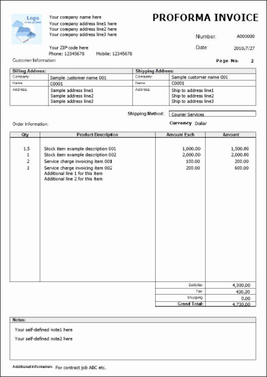 Proforma Invoice Template Excel Fresh Proforma Invoice Templates Find Word Templates