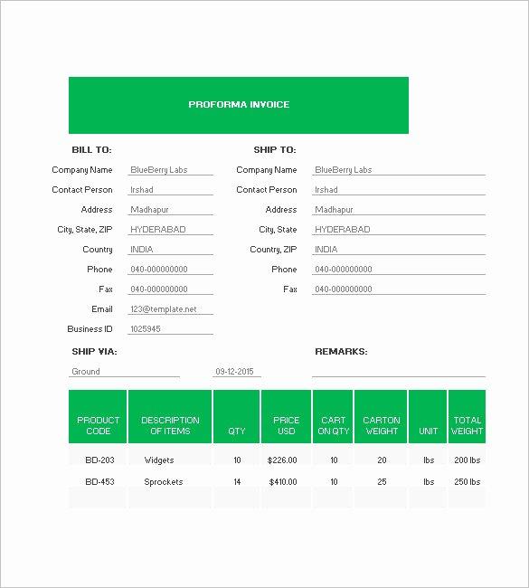 Proforma Invoice Template Excel Luxury Proforma Invoice Template 8 Free Excel Word Pdf