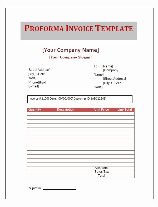 Proforma Invoice Template Excel New 7 Proforma Invoice Templates Download Free Documents In