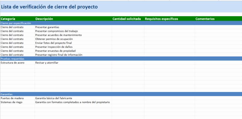 Project Closeout Checklist Template Awesome Plantillas Gratis De Excel Para Proy De Construcción